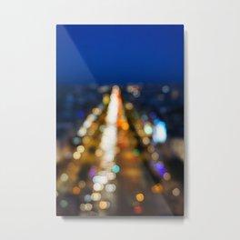 Paris Nighttime Traffic Metal Print