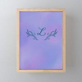 Antler L initial Framed Mini Art Print