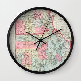 Vintage Map of Rhode Island (1887) Wall Clock