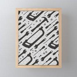 Tools Pattern Framed Mini Art Print
