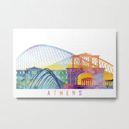 Athens skyline landmarks in watercolor Metal Print