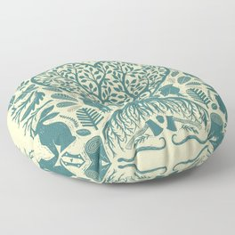 Rustic Early American Tree Of Life Woodcut Floor Pillow