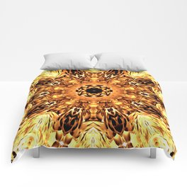 Yellow Brown Mandala Abstract Flower Comforters