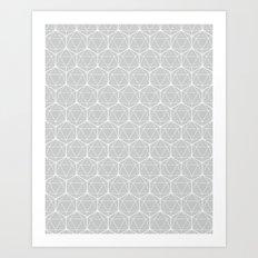 Icosahedron Soft Grey Art Print