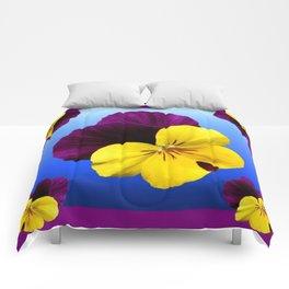 Decorative Shaded Blur Yellow-Purple Violas Art Comforters