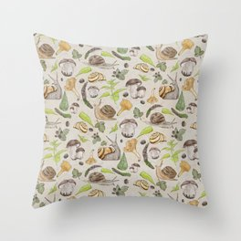 Woodland Snail in Watercolor Fungi Forest, Moss Green and Ochre Earth Animal Pattern Throw Pillow