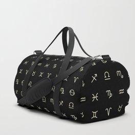 Zodiac Symbols - Black Duffle Bag