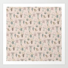 Children Playing-on Peach Art Print