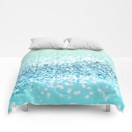 Seafoam Aqua Ocean MERMAID Girls Glitter #2 #shiny #decor #art #society6 Comforters