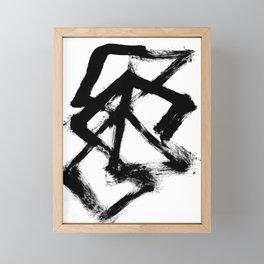 Brushstroke 5 - a simple black and white ink design Framed Mini Art Print