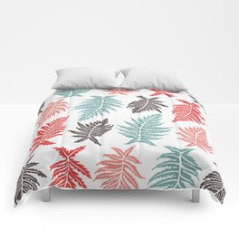 Inked Ferns – Red & Green Palette Comforters