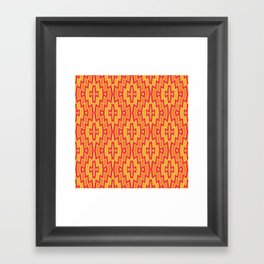 Tribal Diamond Pattern in Red, Orange and Yellow Framed Art Print
