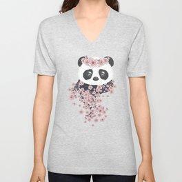Panda face and Sakura Unisex V-Neck