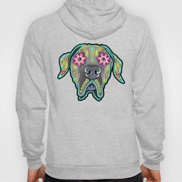 Great Dane with Floppy Ears - Day of the Dead Sugar Skull Dog Hoody