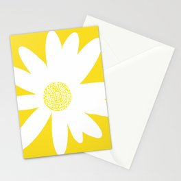 Only One White Daisy Flower Yellow Mellow Background #decor #society6 #buyart Stationery Cards