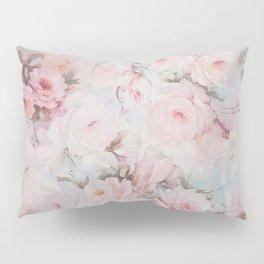 Vintage romantic blush pink teal bohemian roses floral Pillow Sham