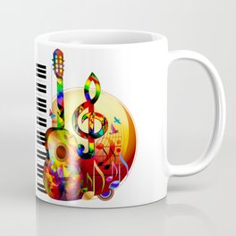 Colorful  music instruments painting, guitar, treble clef, piano, musical notes, flying birds Coffee Mug