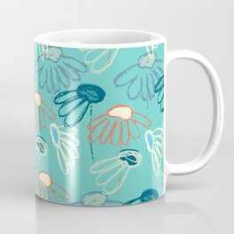 Abstract flowers on turquoise background Coffee Mug