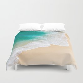 Sand Beach - Waves - Drone View Photography Duvet Cover
