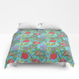 Seven Species Botanical Fruit and Grain with Aqua Background Comforters