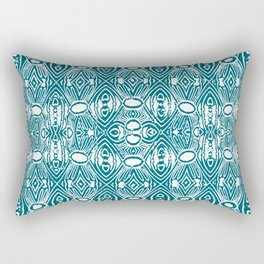 Teal neo Tribal Ink Stamp Vintage Fabric Boho Print Rectangular Pillow