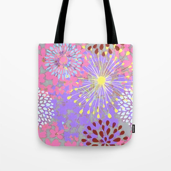 Floral Explosion Abstract Tote Bag
