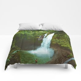 The Valley's Waterfall (Color) Comforters
