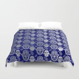 Hamsa Hand pattern - pearl and silver on lapis lazuli Duvet Cover
