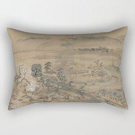 A garden picture in Osaka East in Japan. Ukiyoe Landscape Rectangular Pillow