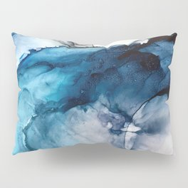 White Sand Blue Sea - Alcohol Ink Painting Pillow Sham
