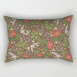 Swallows with dandelions and roses on brown background Rectangular Pillow