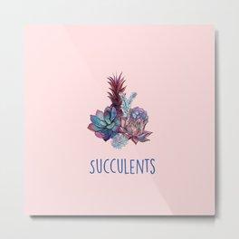 Rich in details, Succulents, watercolour artwork Metal Print