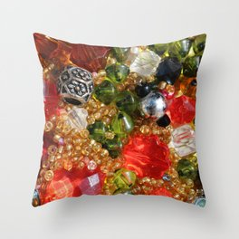 Shiny colorful beads abstract background Throw Pillow