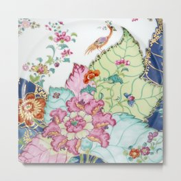Damask antique floral porcelain china chinoiserie plate of flowers and crane bird vintage photo Metal Print
