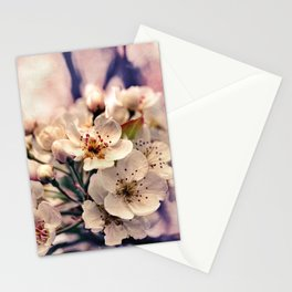 Blossoms at Dusk - vintage toned & textured macro photograph Stationery Cards