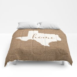 Texas is Home - White on Burlap Comforters