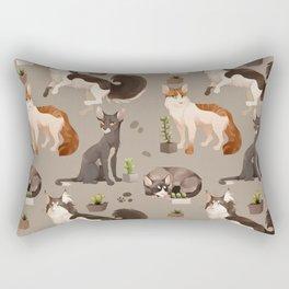 Cat and Cacti Pattern Rectangular Pillow