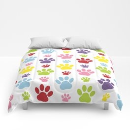 Colorful Paws, Dog Traces, Trails, Animal Paws Comforters