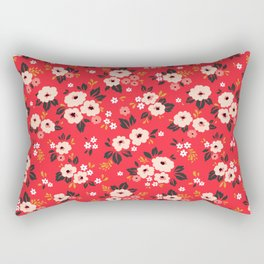 05 Ditsy floral pattern. Red background. White and pink flowers. Rectangular Pillow