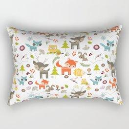 Cute Woodland Creatures Pattern Rectangular Pillow