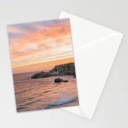 Sunset at Paradise Beach   Orange Sky   Travel Photography Stationery Cards