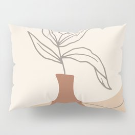 Minimal Line Art Plant Pillow Sham