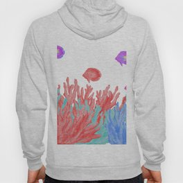 Modern nautical coral teal floral reef colorful fish Hoody