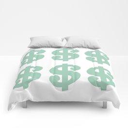 Mint Dollars Comforters