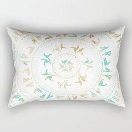 Kama Sutra Mandala Blue and Gold Rectangular Pillow
