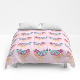 Pretty Pink Colorful Chickens Comforters