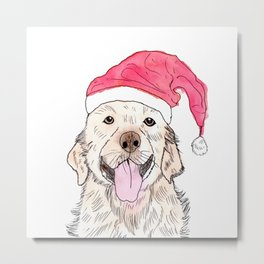 Christmas Golden Retriever Metal Print