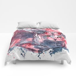 Cat acrylic painting, animal abstract portrait Comforters