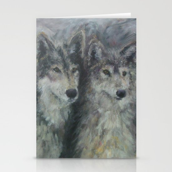 Wolf Couple Stationery Cards