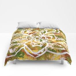Golden Succulent Flower Comforters